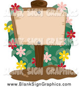 Vector Illustration of a Flowering Bush and Wood Post Sign by Pams Clipart