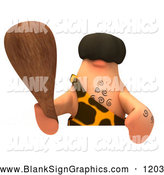 Vector Illustration of a Friendly 3d Caveman Character Holding a Club over a Blank Sign by Julos