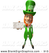 Vector Illustration of a Friendly 3d Irish Leprechaun Man Character Holding out a Blank Business Card - Version 1 by Julos