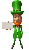 Vector Illustration of a Friendly 3d Irish Leprechaun Man Character Holding out a Blank Business Card - Version 3 by Julos
