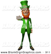 Vector Illustration of a Friendly 3d Leprechaun Person Character Holding out a Blank Business Card - Version 2 by Julos