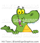 Vector Illustration of a Friendly Alligator Smiling over a Blank Sign Board by Hit Toon