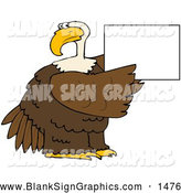 Vector Illustration of a Friendly Bald Eagle Holding up a Blank White Sign by Djart