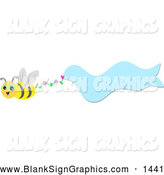 Vector Illustration of a Friendly Bee Flying with a Wavy Blue Banner by