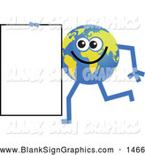 Vector Illustration of a Friendly Global Character Carrying a Blank Sign by Prawny