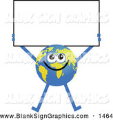 Vector Illustration of a Friendly Global Character Holding a Blank Sign by Prawny