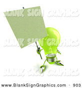 Vector Illustration of a Friendly Green Glass Light Bulb Character Holding a Blank Sign on a Post by Julos