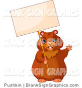Vector Illustration of a Friendly Groundhog Holding up a Blank Sign by Pushkin