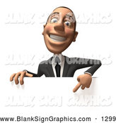 Vector Illustration of a Friendly or Outgoing 3d White Corporate Businessman Character Pointing down and Standing Behind a Blank Sign by Julos
