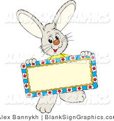 Vector Illustration of a Friendly Rabbit Holding a Blank Sign by Alex Bannykh