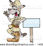 Vector Illustration of a Friendly Safari Kangaroo Leaning on a Sign and Waving by Dennis Holmes Designs
