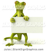 Vector Illustration of a Gecko Character Holding a Blank Sign and Looking Forward by Julos