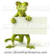 Vector Illustration of a Gecko Character Holding a Blank White Sign by Julos