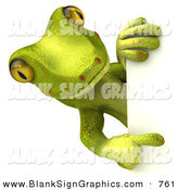 Vector Illustration of a Gecko Character Looking Around and Pointing at a Blank White SignGecko Character Looking Around and Pointing at a Blank White Sign by Julos