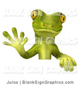 Vector Illustration of a Gecko Character Waving and Standing Behind a Blank White Sign by Julos