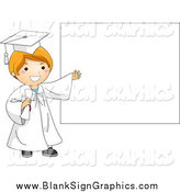 Vector Illustration of a Graduate Boy Presenting a Blank White Sign by BNP Design Studio