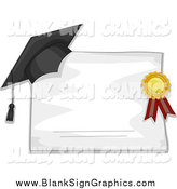 November 25th, 2014: Vector Illustration of a Graduation Cap and Ribbon Resting on a Blank Diploma by BNP Design Studio