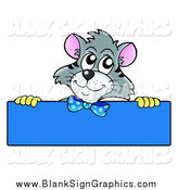 Vector Illustration of a Gray Cat over a Blank Blue Sign by Visekart