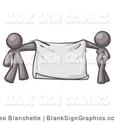 Vector Illustration of a Gray Couple Holding a Blank Sign Banner by Leo Blanchette