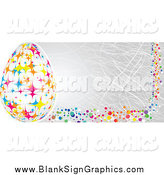 Vector Illustration of a Gray Easter Banner with Colorful Polka Dots and a Starry Egg by Andrei Marincas