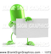 Vector Illustration of a Green 3d Pill Character Holding a Blank White Business Card by Julos