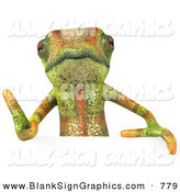 Vector Illustration of a Green Chameleon Lizard Character Giving the Thumbs up and Standing Behind a Blank Sign by Julos
