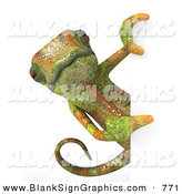 Vector Illustration of a Green Chameleon Lizard Character Looking Around a Blank Sign by Julos