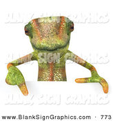 Vector Illustration of a Green Chameleon Lizard Character Pointing down to and Standing Behind a Blank Sign by Julos