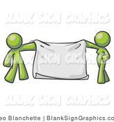 Vector Illustration of a Green Couple Holding a Blank Sign Banner by Leo Blanchette