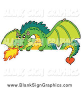 Vector Illustration of a Green Fire Breathing Dragon over a Blank Sign by Visekart