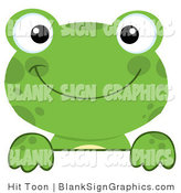 Vector Illustration of a Green Frog Looking over a Blank Sign by Hit Toon