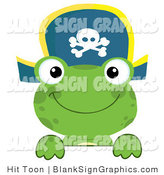 Vector Illustration of a Green Frog Pirate Looking over a Blank Sign by Hit Toon