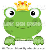 Vector Illustration of a Green Frog Prince Looking over a Blank Sign by Hit Toon