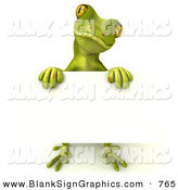 Vector Illustration of a Green Gecko Character Holding a Blank SignGreen Gecko Character Holding a Blank Sign by Julos
