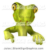 Vector Illustration of a Green Gecko Character Pointing down at and Standing Behind a Blank Sign by Julos