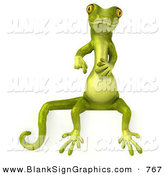 Vector Illustration of a Green Gecko Character Sitting on and Pointing down at a Blank SignGreen Gecko Character Sitting on and Pointing down at a Blank Sign by Julos