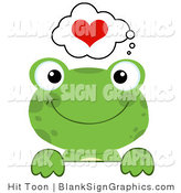 Vector Illustration of a Green Loving Frog over a Blank Sign by Hit Toon