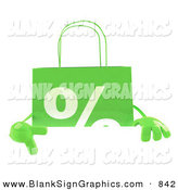 Vector Illustration of a Green Percent Shopping Bag Pointing to and Standing Behind a Blank White Sign by Julos