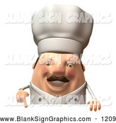 Vector Illustration of a Grinning 3d Chubby Chef Steve Character Standing Behind a Blank Sign by Julos