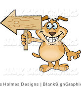 Vector Illustration of a Grinning Dog Holding a Blank Wooden Arrow Sign by Dennis Holmes Designs