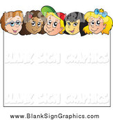 Vector Illustration of a Group of Children over a Blank Sign by Visekart