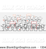 Vector Illustration of a Group of Stick People Character Crowd Holding up Protesting Signs by NL Shop