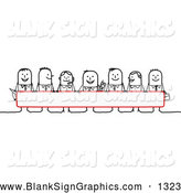 Vector Illustration of a Group of Stick People Characters Looking over a Blank Red Sign by NL Shop