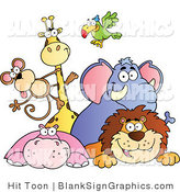 Vector Illustration of a Group of Zoo Animals over a Blank Sign by Hit Toon