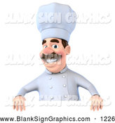 Vector Illustration of a Happy 3d Chef George Character Standing Behind a Blank Sign by Julos