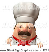 Vector Illustration of a Happy 3d Chubby Chef Steve Character Standing Behind a Blank Sign by Julos