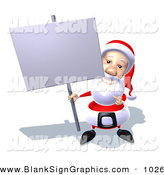 Vector Illustration of a Happy 3d Santa Claus Character Holding up a Blank Sign on a Post by Julos