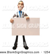 Vector Illustration of a Happy 3d White Male Doctor Character Holding up a Blank Sign by Julos