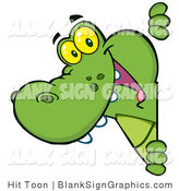 Vector Illustration of a Happy Alligator Looking Around a Blank Sign by Hit Toon