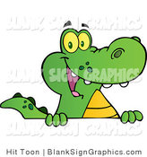 Vector Illustration of a Happy Alligator Smiling over a Blank Sign Board by Hit Toon